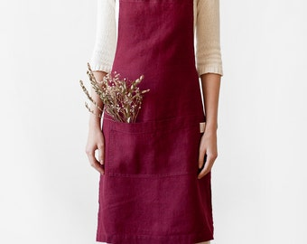 Burgundy Stone Washed Linen Apron