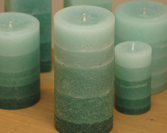 """Green Rustic Pillar Candle - 3x6"""" - Layered Fade Style - Spring Candles - Summer Decor"""
