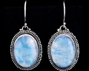 Rainbow Moonstone Earrings: ATHENA