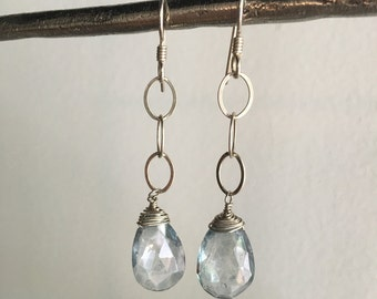 Sterling Silver Chain Ice Blue Quartz Briolette Earrings
