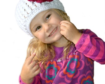 White Crochet Girls Hat, Crochet Winter Hat, Toddler Girls Flower Hat, Knit Womens Hat, Winter Baby hat, Hospital hat, Newborn Photography