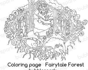 Sleeping Fairy tale Forest - Coloring page