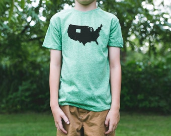 WYOMING is a State Kid's Tshirt / Wyoming Youth Shirt / Wyoming Map Shirt / Wyoming State Shirt / Wyoming Clothing / Wyoming Apparel / USA