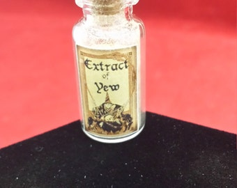 "DOLL HOUSE Miniature  Potion Bottle ""Extract of Yew""//gothic-witch-witchcraft-mini-pagan-spell-voodoo"