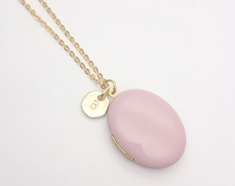 Personalized Pink Enamel Oval Photo Locket Necklace gold surgical steel chain, Custom Monogram Locket, Initial Photo Locket, hypoallergenic