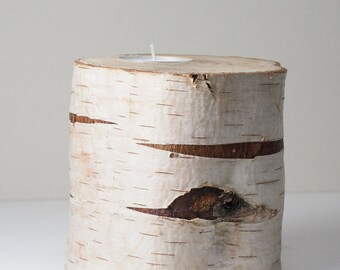 Large Candle Holders - White tree branch  - Rustic Wooden Candle Holders - Tree Bark
