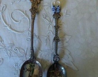 Souvenir Spoons 2 Dutch Holland Vintage Silver Delft Enamel