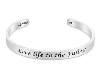 Rhodium Live Life to the Fullest Inspirational Cuff Bracelet #Azaggi B0837S