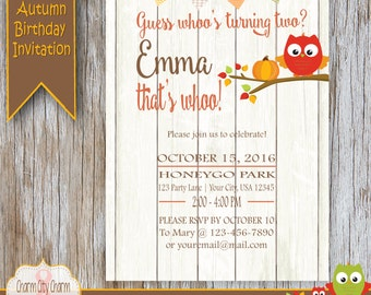 Whoo's Turning Two, Mod Owl Second Birthday Invitation, Fall Second Birthday Invitation, Pumpkins, Orange, Shabby Wood - 024-002