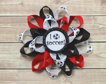 Red Soccer Hair Bow, Soccer Bow, I Love Soccer Bow, Soccer Team Bow, Team Hair Bow, Soccer Accessories, Red Soccer Bows, Soccer Ponytail Bow