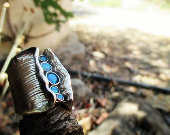 Handcrafted 925 Sterling Silver Ring, Long Ring, Blue Opal, Art Nouveau Style, Big Ring, Made In Israel