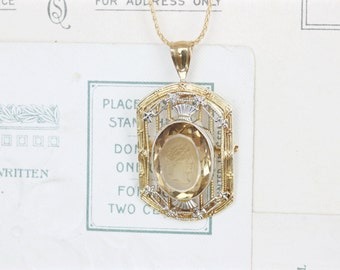 Art Deco Necklace | Antique Citrine Necklace | Intaglio Pendant | 1920s Necklace | 14k Yellow Gold Necklace | Edwardian Cameo Pendant