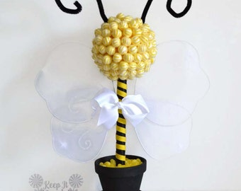 Bumble Bee Lollipop Topiary, Bee Topiary, Babyshower Centerpiece, Bee Baby Shower, Bee Theme, Baby Girl,  Baby Showers, Candy Centerpiece