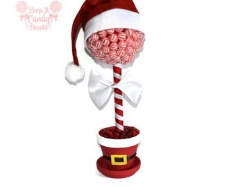 Santa Claus Christmas Lollipop Centerpiece, Christmas Centerpiece, Christmas Table Centerpiece, Santa Theme Candy Tree, Candy