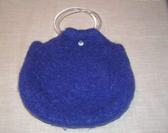 Handmade Purple Felted Wool Handbag with Plastic Handles - FREE SHIPPING