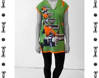 PIONEER Dress/ Tunic, Viscose, Communism, Socialism, digital print, Soviet Union, workers posters, propaganda, 1920s to 1940s