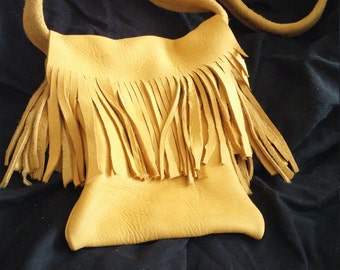 Elkskin Leather Fringed Shoulder Bag