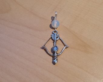Bow & Arrow moonstone pendant