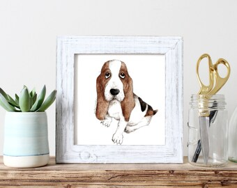 custom digital watercolor cartoon portrait - pet