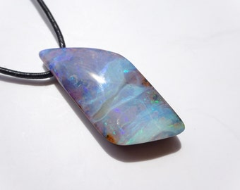 Blue opal necklace, Genuine Opal necklace, Natural Opal pendant, Solid Australian opal necklace, October birthstone, Mens opal necklace