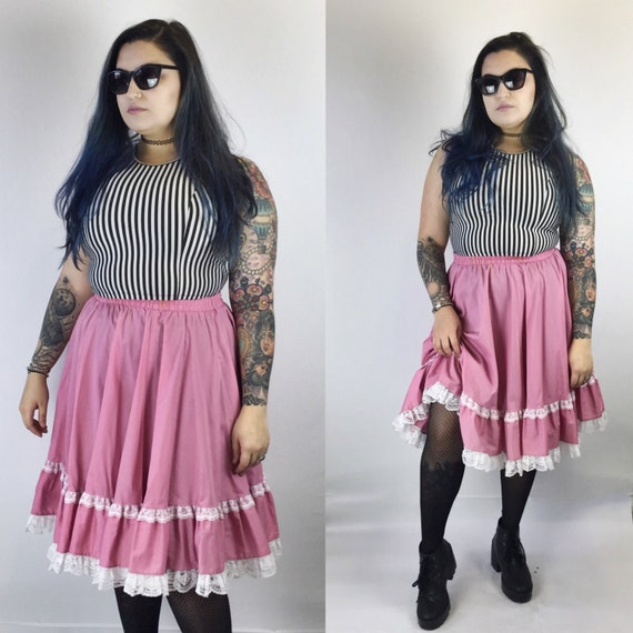 Pink Circle Skirt Square Dancing Lace Skirt Medium Large - High Waist Circle Midi Skirt With Ruffle - Vintage High Waist Skirt Line Dancing