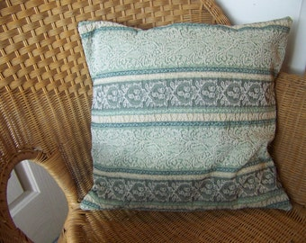 Green & Beige Vintage Fabric 18x18 Decorative Pillow Cover