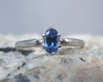 SAPPHIRE - Ceylon Blue Sapphire Petite Birthstone or Pinky Sterling Silver Ring! FREE Shipping!