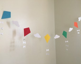 Let's Go Fly a Kite Party Paper Garland Kite Baby Shower Decor Kite Birthday Party Decoration Kites Nursery Kite Room Decor Custom Colors