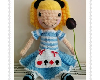 Crochet Alice the Cuddly Doll Soft Stuffed Amigurumi Girl doll, approx 17in / 43cm tall, LARGE crochet handmade doll