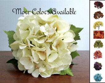 "Choice of Silk Hydrangea Bouquet, Burgundy, Orange, Brown, Green, Beige, Teal Blue, Rose Pink, Amethst Purple, Coral, ""Grace"""