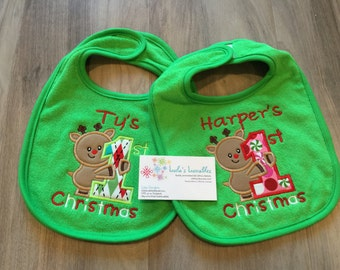 Baby's First Christmas Reindeer bib, personalized