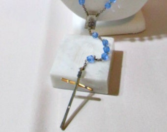 Blue Crystal Beaded Rosary Multifaceted Bead Vintage