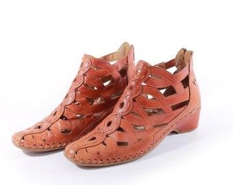Woven Leather Shoes Ankle Boots Tan Leather Shoes Cutout Shoes Woven Sandals Boho Hippie Shoes Women's Size US 6 / UK 4 / EUR 36