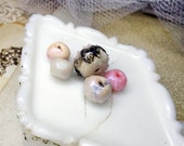 Polymer Clay Beads - 5 Rustic Iridescent Beads - Rounds, Rondelle - Pink, White, Blue Glow - Faux Sugar Beads, Cane Appliques - Translucent