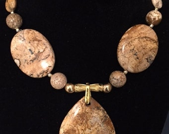 Picture Jasper Necklace and Earring Set