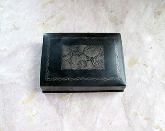 Vintage Hinged Black Metal Box with Floral Decorative Top 1950s