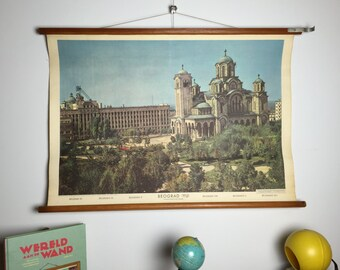 Vintage pull down school chart, Belgrade, Serbia