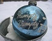 Vintage Shiny Brite Nursery Rhyme BLUE Humpty Dumpty Stencil Christmas Ornament