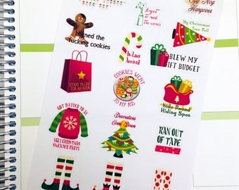Funny Christmas Bucket List Stickers / Christmas To Do List Sticker / Winter Holiday Christmas Planner Stickers / Christmas F*ck it list