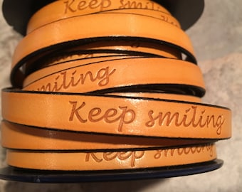 """PER 7"""" Yellow """"Keep Smiling"""" Inspirational Engraved 10mm Flat Leather, jewelry making craft supplies"""