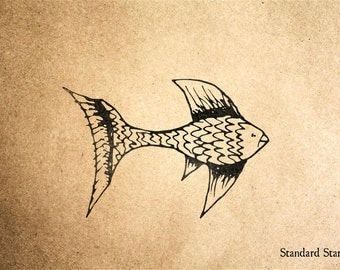 Fighting Fish Rubber Stamp - 2 x 2 inches