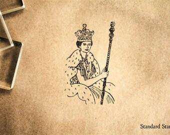 Queen Elizabeth Rubber Stamp - 2 x 2 inches