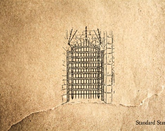 Portcullis Rubber Stamp - 2 x 2 inches