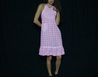Rare baby pink gingham vintage retro 90s dress halter neck