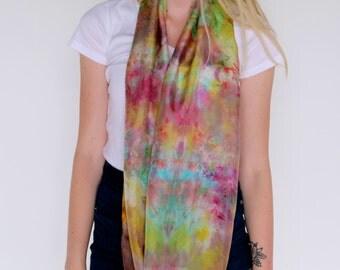 Silk Scarf-- Infinity scarf--- Hand-dyed silk scarf-- Colorful scarf-- Habotai silk scarf