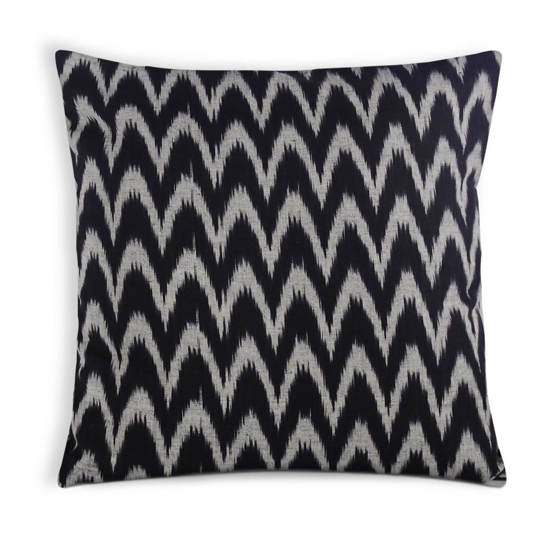 Black and White Handloom Cotton Ikat Throw Pillow Envelope