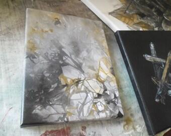 picchi di... mini collezione di originale arte tecnica mista su tela, illustrazione di pietra, pietra semi preziosa, cristallo di quarzo, pietra di calcite