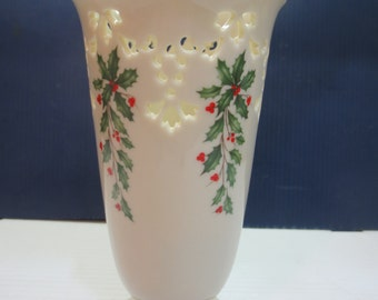 Lenox Holly Holiday Cut Out Medium Vase- Ivory