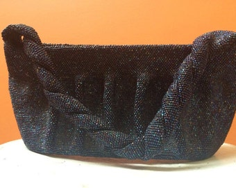 Vintage Midnight Blue Beaded Evening Bag