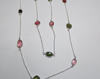 Ladies sterling silver long multi 10ct tourmaline fine necklace